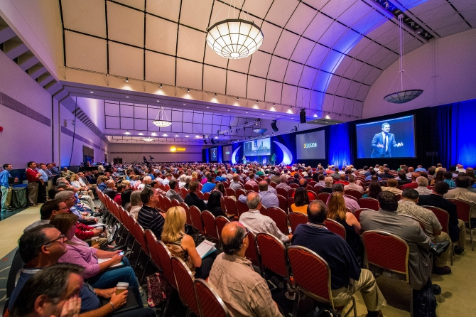 Conference hall filled with attendees